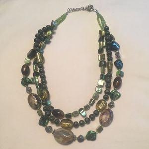 Layered bead necklace green